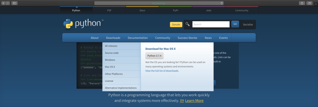 Download Python from the Official Website